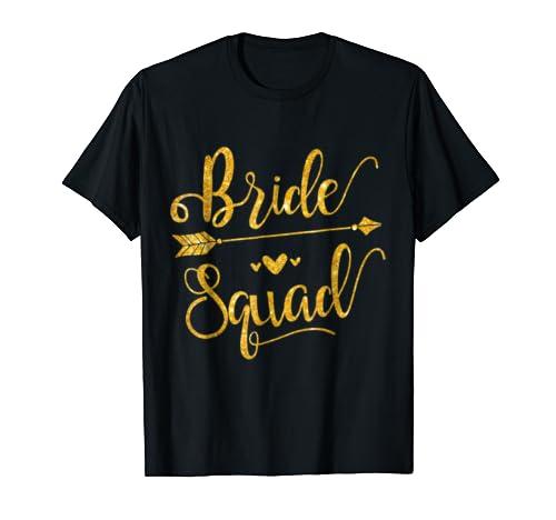 Bride Squad Bachelorette Party T-Shirt Arrow Gold Cursive