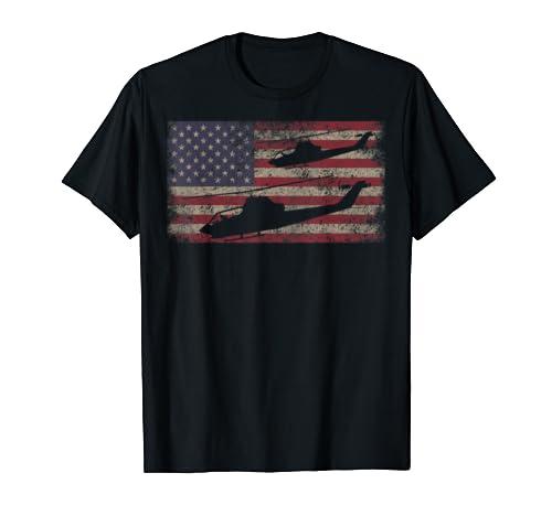 AH1 Cobra Helicopter T Shirt Gift USA Flag Tee