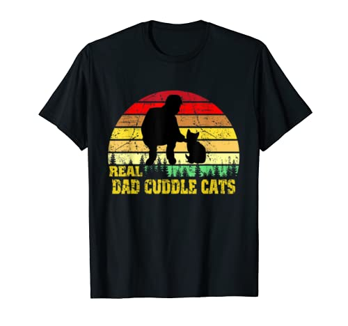 Real Dad Cuddle Cats Tshirt Funny Cat Father's Gift