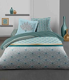 Home Linge Passion   Duvet Cover - 3 Pieces   100% Cotton - 57 Thread Count   2 People - 240x260 cm   LOUXOR GREEN EMERAUDE
