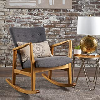 Christopher Knight Home 301993 Collin Mid Century Fabric Rocking Chair, Grey, Light Walnut