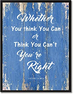 Whether You Think You Can Or Think You Can't You're Right Inspirational Quote Saying Canvas Print Home Decor Wall Art Gift Ideas, Black Frame, Blue, 7
