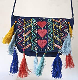 small cotton cross Body Shoulder Bag cell phone travel pouch Blue Boho light weighted for girls teen gift gifts for Her