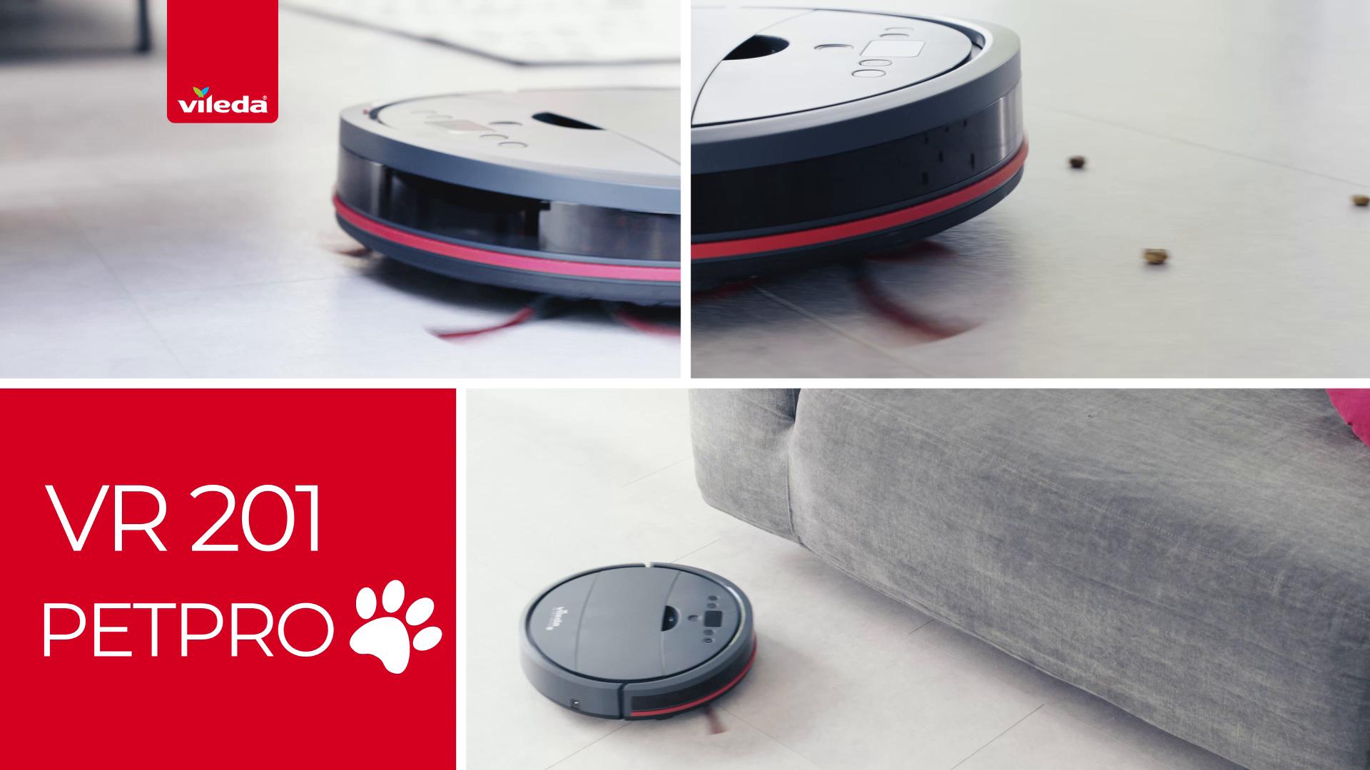Vileda VR 201 PetPro - Robot aspirador, depósito de suciedad XL, cepillo especial para animales, doble filtro para alérgenos y polen, base de carga, autonomía de 90 minutos, gris oscuro: Amazon.es: Hogar