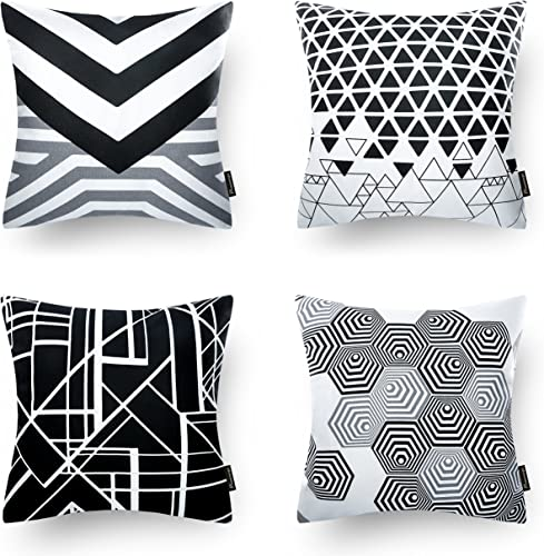 2021 Phantoscope Set of 4 Black Geometric 100% Cotton Throw Pillow Case Cushion Cover 18 x lowest 18 new arrival inches 45 x 4cm outlet online sale