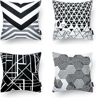 Phantoscope Set of 4 Black Geometric 100% Cotton Throw Pillow Case Cushion Cover 18 x 18 inches 45 x 4cm