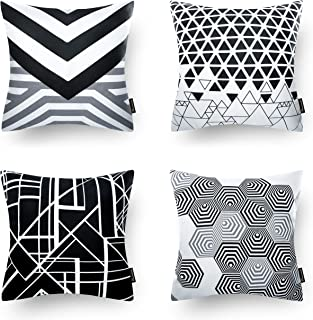 Phantoscope Set of 4 Black Geometric 100% Cotton Throw Pillow Case Cushion Cover 18 x 18 inches 45 x 4cm