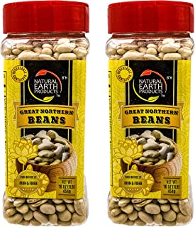 Natural Earth Products - Great Northern Beans - Good Source of Iron & Fiber - OU-Kosher Parve - 16 Oz (1 LB / 454 g) (2-Pack)