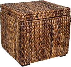 BIRDROCK HOME Woven Storage Cube - Abaca Seagrass Decorative Ottoman - Living Room Side Table - Store Blankets Pillows Magazines Books Remotes