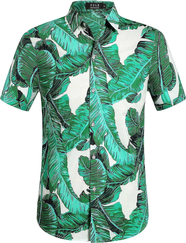 SSLR Mens Hawaiian Shirt Cotton Button Down Short Sleeve Casual Shirts