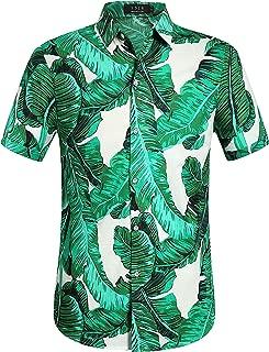 Men's Banana Leaves Button Down Casual Short Sleeve Hawaiian Shirt