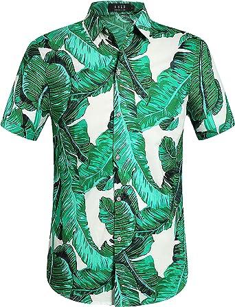 SSLR Camisa Estilo Hawaiana Estampada de Hojas de Banana Casual para Hombre
