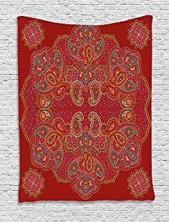 Ambesonne Mandala Tapestry, Moroccan Persian Design Oriental Rectangular Paisley Floral Print, Wall Hanging for Bedroom Living Room Dorm Decor, 40