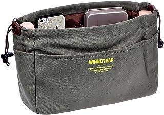 Vercord Canvas Handbag Organizers, Sturdy Purse Insert Organizer Bag in Bag, 13 Pockets 4 Colors 2 Sizes