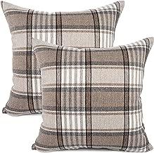YOUR SMILE Retro Farmhouse Outdoor Buffalo Tartan Chequer Plaid Cotton Linen Decorative Throw Pillow Case Cushion Cover Pillowcase for Sofa 18 x 18 Inch, Set of 2, Khaki/Stripe