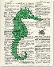 Benchmark LLC Vintage Dictionary Art Print Upcycled 8x10 - Green Nautical Seahorse