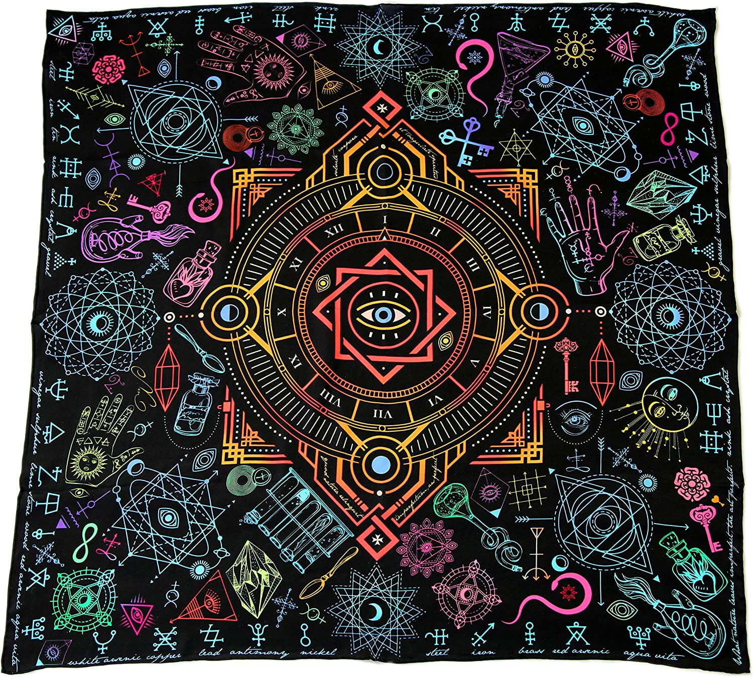 100% silk square scarf black wrap Alchemy   esoteric clothing, mystical spiritual gift alchemical symbols scarves