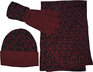 MK Repeat Logo Knit Scarf, Hat & Gloves Box Set, Wine/Black