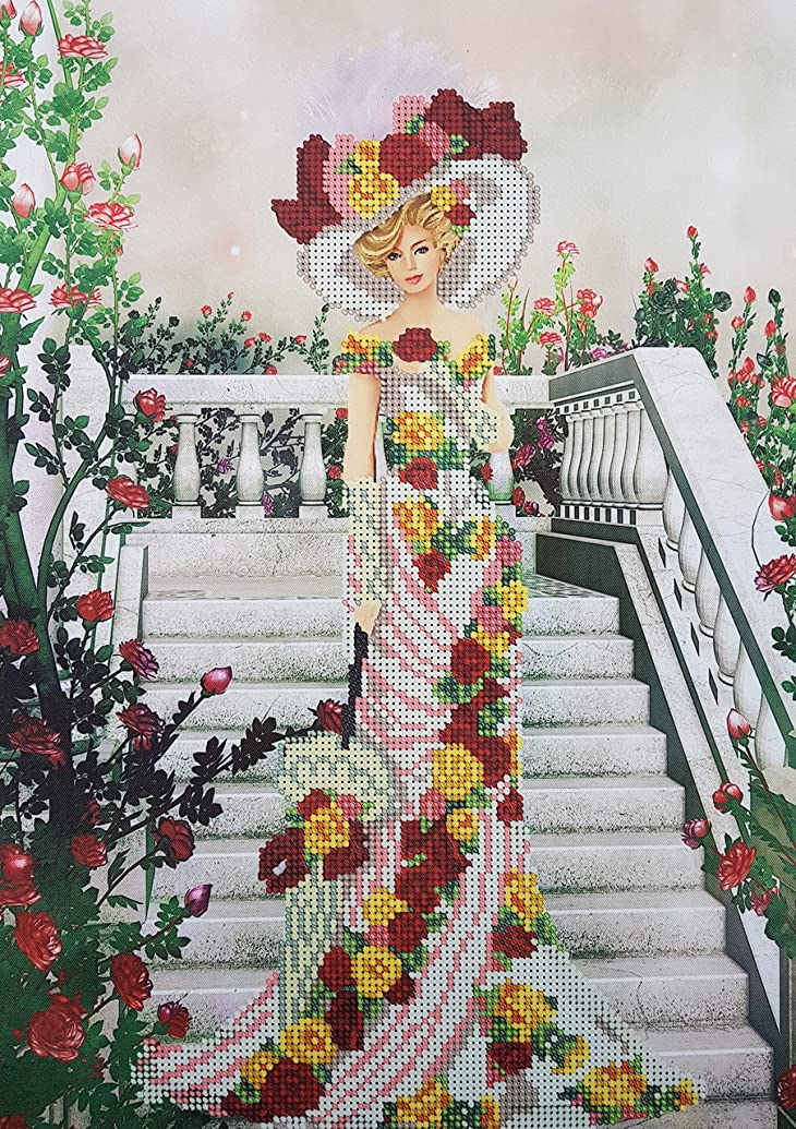 Bead Embroidery kit, Lady in White, Needlepoint, Princess, Handcraft, Tapestry, Beaded Cross Stitch, kit. Beading Pattern
