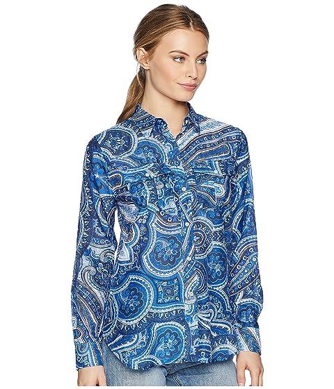 Ralph Camisa de con mezcla estampado LAUREN Lauren azul Mini Paisley de seda de EzSd0xw