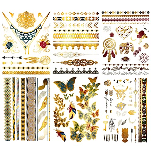 762db970d Boho Color Metallic Temporary Tattoos - Over 75 Gold Silver Bright Colored  Designs (6 Sheets