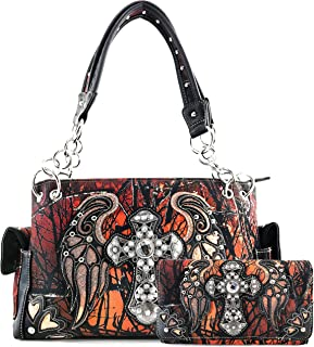 Justin West Camouflage Tree Branches Bling Rhinestone Cross Wings Handbag Purse Messenger Bags and Wallets