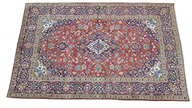 Handmade Persian Rug Kashan design made of special Wool material, size 195cm x 310cm, Blue Red Yellow White Multicolour made
