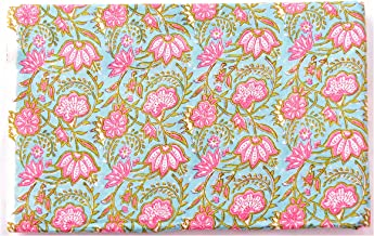 Handicraft-Palace Floral Hand Block Printed Garment Voile Fabric Cotton Craft Making Fabric Dress Making Soft Fabric Natural Running Vegetable Color Fabric (Turquoise_3 Meter)