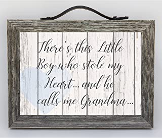 """Grand Expressions - 5"""" x 7"""" Distressed Wooden Frame with Leather Hanger/Accent - Farmhouse Decor Inspired Sign for Grandmothers -"""