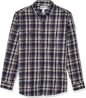 Amazon Essentials Men's Regular-Fit Long-Sleeve Plaid Two-Pocket Twill Shirt