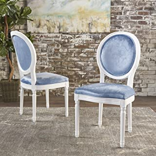 Christopher Knight Home Camille Traditional New Velvet Dining Chairs (Set Of 2), Icy Blue/Gloss White