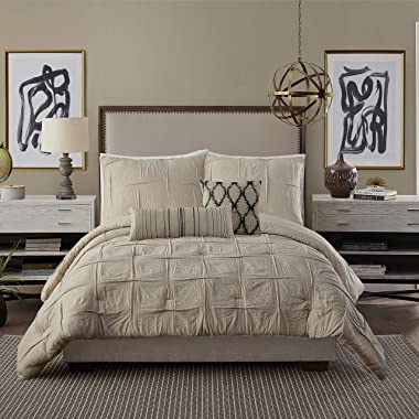 Ayesha Curry Natural Instincts Double Cloth Comforter, King, Linen
