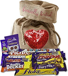 British Cadbury Variety perfect Fathers day gift in Limited Edition Basically British Burlap Bag with Sequin Heart - Picnic, Crunchie, Double Decker, Buttons, Freddo and uch more!