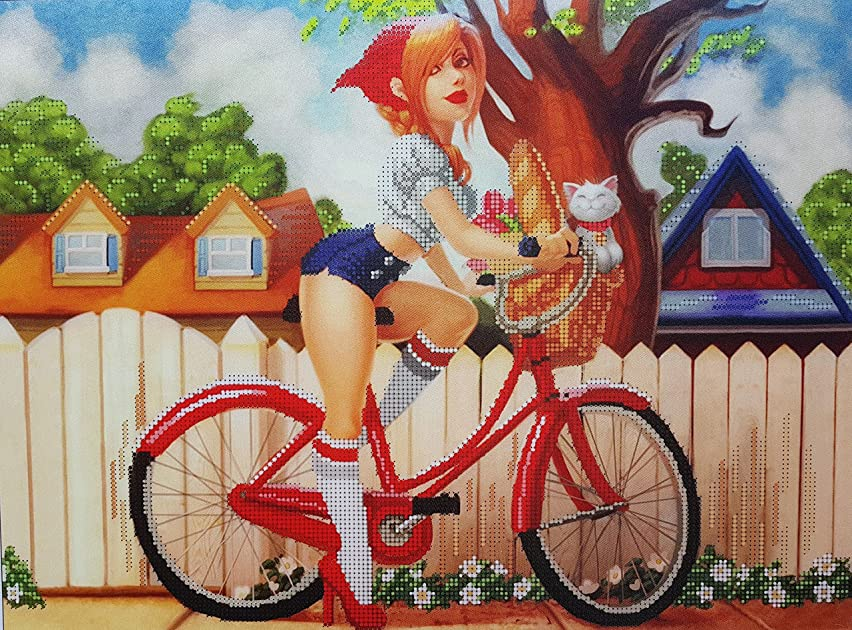 Bike Girl Bead Embroidery Needlepoint Tapestry kit, Girl Embroidery, Bead Embroidery, Embroidery kit, Needlepoint kit, Tapestry kit, beadkit