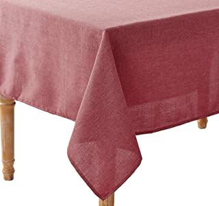"""Violet Linen Euro Linen Vintage Design Tablecloth 68"""" x 108"""" Cranberry"""