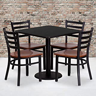 Flash Furniture 30'' Square Black Laminate Table Set with 4 Ladder Back Metal Chairs - Cherry Wood Seat