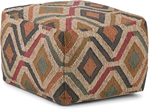 Simpli Home AXCPF-12 Johanna Transitional Square Pouf in Kilim Patterned Jute
