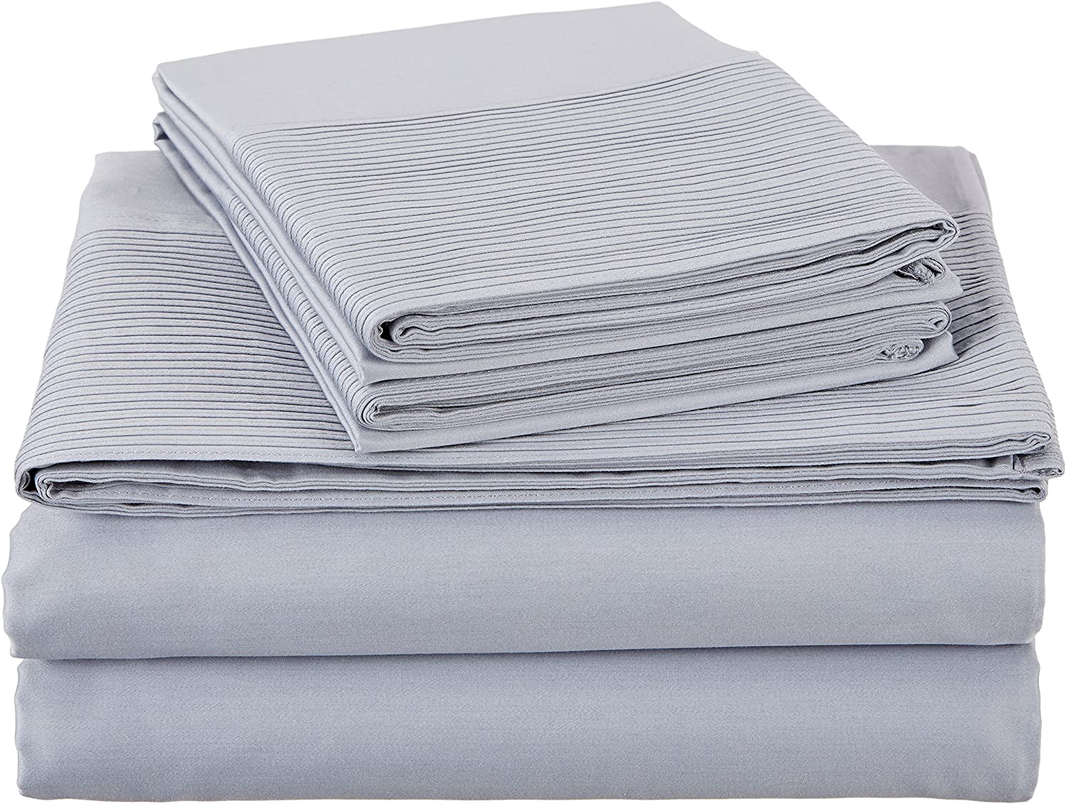 Pinzon 400-Thread-Count Egyptian Cotton Sateen Pleated Hem Sheet Set - Queen, Dusty bluee
