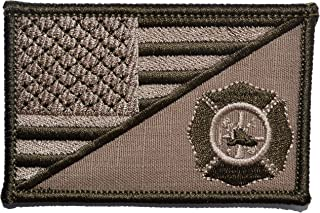 USA Flag/Firefighter Maltese Cross 2.25x3.5 Morale Patch - Coyote Brown