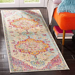 Safavieh Boho Indoor Woven Runner Area Rug, Crystal Collection, CRS501, in Light Blue / Fuchsia, 66 X 213 cm for Living Ro...