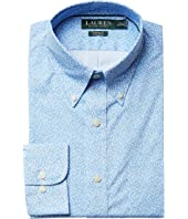 LAUREN Ralph Lauren Classic Fit Non Iron Poplin Floral Print Button Down Collar Dress Shirt