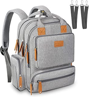 Diaper Bag Backpack, Sensyne Multifunction Travel Back Pack Maternity Baby Nappy Bags with USB Charging Port & Stroller Straps, Large Capacity, Waterproof and Stylish, Gray