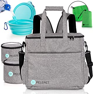 PELEPET Travel Bag for Dogs - Small, Medium & Large Dogs. 3 in 1 Styles: Backpack, Crossover, Handheld - Bonus: 2 Silicone Collapsible Food Bowls, 2 Food Containers, Waterproof Picnic Blanket - Green