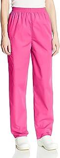 Cherokee Women's Workwear Elastic Waist Cargo Scrubs Pant, Shocking Pink, Medium Petite