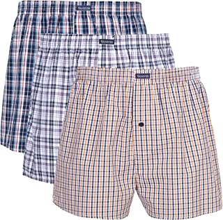 3PK Men's Woven Boxers, 100% Cotton Boxer Shorts for Men, Boxershorts with Button Fly, Underwear