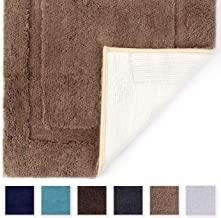 TOMORO Microfibers Non-Slip Bathroom Rug – Quick Dry, Super Absorbent and Soft Luxury Hotel Door Carpet Shower Shaggy Bath Mat Waterproof TPR Non-Skid Backing 24 x 39 inch Beige
