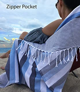 Aysesa Luxury 30% Thicker Turkish Beach Towel with Hidden Pocket 100% O'ECO-TEX Cotton Lightweight Quick Dry Peshtemal - Designed for Spa Gym Sports Yoga Sauna 38x70 (Aqua Warm)