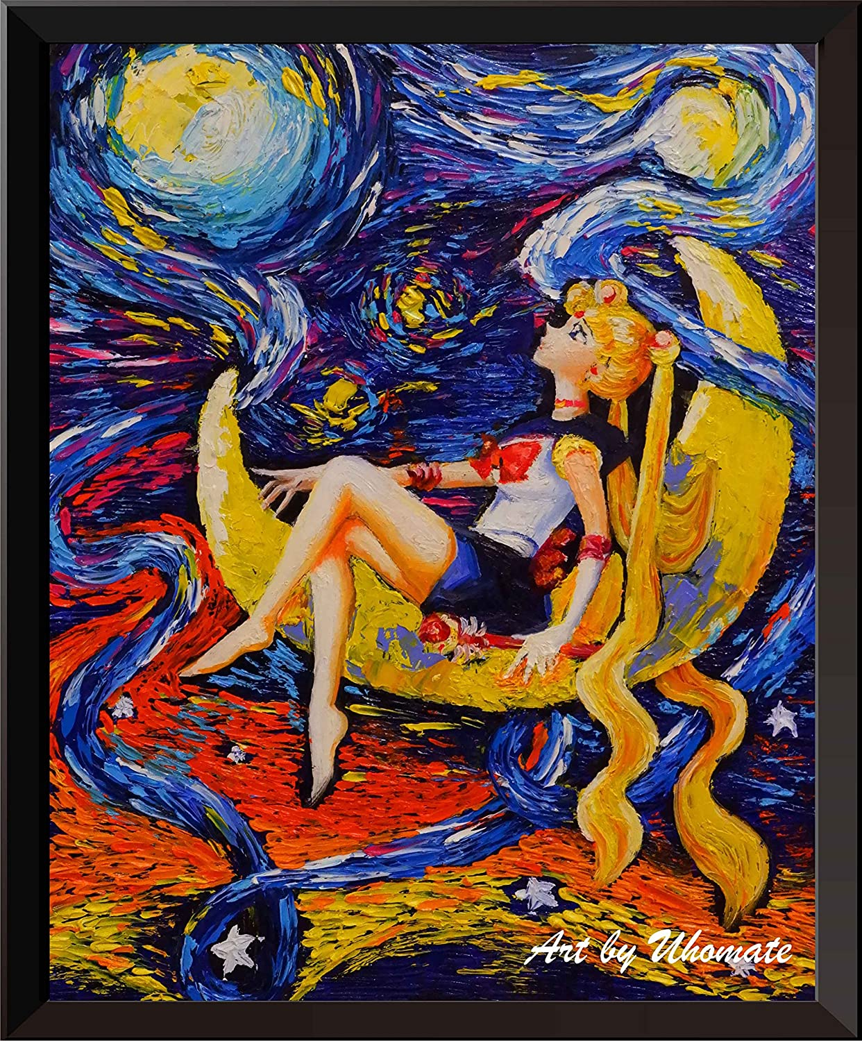 Uhomate Pretty Soldier Sailor Moon Wall Decor Vincent Van Gogh Starry Night Posters Home Canvas Wall Art Anniversary Gifts Baby Gift Nursery Decor Living Room Wall Decor A052 (18X24)