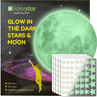 Glow in The Dark Stars and Free Removable Full Moon Wall Stickers 220 Adhesive Glowing Star Beautiful Wall Decals for Bedroom.for Room,Light Your Ceiling,Bonus Affirmation Card for Kids Toddlers