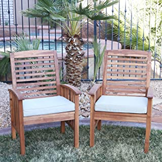 ModHaus Living Contemporary Acacia Wood Set of 2 Patio Chairs with Cushions - Includes Pen